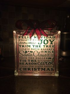 Christmas glass block Etsy: scooperscreations