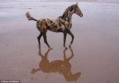 Driftwood Horse sculpture by Heather Jansch