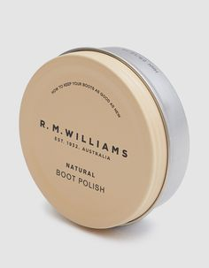 Boot polish from R. Williams in Natural / tin packaging design Jar Packaging, Beverage Packaging, Luxury Packaging, Pretty Packaging, Beauty Packaging, Packaging Design, Label Design, Box Design, Eco Brand