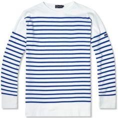 Armor-Lux 1140 Long Sleeve Sailor Tee (White & Blue)
