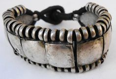 Indan bracelet, flexible, from Rahjastan, silver on cotton cord, aprox. 30 years old.