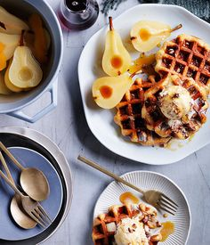 Australian Gourmet Traveller    Overnight waffles, brown butter pecan ice-cream and spiced pears.