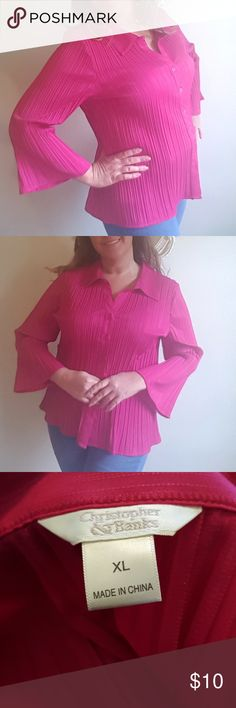 Pink Top Beautiful blouse with button up front. Bell sleeves. Freshly cleaned and from a smoke free home. Some slight damage on the bottom backside of the dress, please see 4th picture for close up detail. Christopher & Banks Tops Blouses