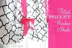 Fitted Sheet Window Shade; No Sew DIY project. Cute. (I like this one even better than the others from this site!)
