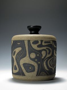 Stoneware jar with abstract carving decoration, by Mickey Fielding, TerraForma Studio Ceramics Ceramic Boxes, Ceramic Jars, Ceramic Clay, Ceramic Pottery, Pottery Art, Clay Box, Ceramic Techniques, Pottery Designs, Pottery Ideas