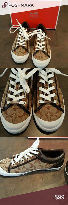 Coach Sneaker NIB Classic tan lace up Coach Sneakers. Size 8 1/2. Never worn, in box. Coach Shoes Sneakers