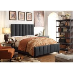 LTD Moser Bay Furniture Isabel Charcoal Upholstery Bed (Queen), Grey