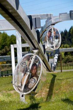 Suspended Capsule Biking Agroventures Adventure Park in Rotorua, New Zealand