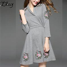 European Autumn Women's Dress Floral Embroidery Long Sleeve Knee-Length Slim Fit A-line Elegant Bottoming Dress Vestidos