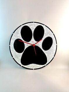 Dog Paws Vinyl Clock Upcycled Black & White Vinyl by InsaneDotting
