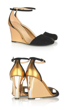 Suede and metallic wedge sandals by Gucci