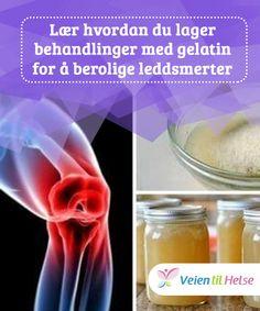 Lær hvordan du lager behandlinger med gelatin for å berolige leddsmerter  Gelatin kan være en svært #effektiv behandling for å gi #kollagen til ledd og redusere #leddsmerter. Selv om det er mer #effektivt å konsumere det, kan du også bruke det lokalt.