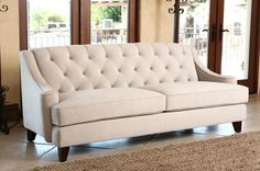Emily Beige Velvet Fabric Tufted Sofa