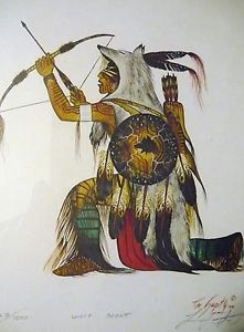 Tim Saupitty Signed Print Wolf Scout 623 1000 Framed 1990 Indian ...