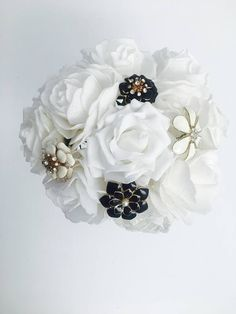 Ivory and Black Crystal and Brooch Unique Bouquet