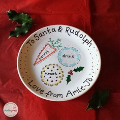 Personalised Christmas Eve Plate Hand painted plate, personalised with up to 3 names. A magical way to leave a treat for your special visitors. See below for a full product description.