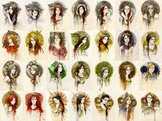 Women of Westeros: Lyanna, Arya, Sansa Stark, Alayne Stone, Lyssa, Catelyn Tully, Lady Stoneheart, Cersei Lannister, Myrcella Baratheon Walda Frey, Meera Reed, Jeyne Westerling, Shae, Taena Merryweather, Visenya, Daenerys Targaryen, Dacey Mormont, Asha Greyjoy, Olenna Redwyne, Margaery Tyrell, Brienne Tarth, Ygritte, Melisandre, Elia, Arianne Martell, Nymeria, Tyene, Obara Sand