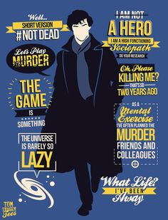 """tomtrager: """" Sherlock's best quotes from season 3 on one tee! AVAILABLE AT http://www.redbubble.com/people/tomtrager/works/11404240-not-dead https://teepublic.com/show/12729-not-dead """""""