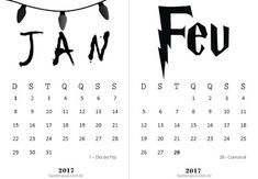 Calendários 2017 para Imprimir | Suéter Azul floral geek clean free printable calendar Brasil harry potter Stranger Things