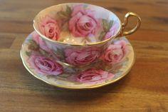 AYNSLEY ENGLAND TEA CUP & SAUCER PINK CABBAGE ROSES & GOLD GILT TEACUP RARE