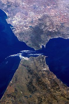 The Strait of Gibraltar, where Europe meets Africa. Photograph: Andre Kuipers/ISS/ESA