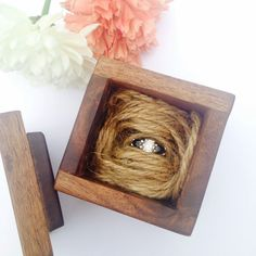 LOVE this reclaimed wood ring box. Looks so great with an engagement ring, but could also work for a pair or earrings, cuff links or wedding rings as a ring bearer box!