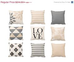 ON SALE Neutral Throw Pillow Covers Geometric by HLBhomedesigns