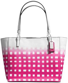 COACH MADISON EAST/WEST TOTE IN GINGHAM SAFFIANO LEATHER
