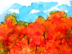 fall day (alcohol ink on photo paper)