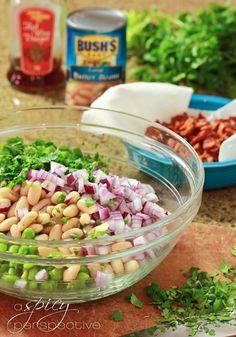 Making White Bean Edamame Salad with Bacon