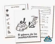 RECURSOS PRIMARIA   Cuaderno del género de los sustantivos para 1º de Primaria ~ La Eduteca