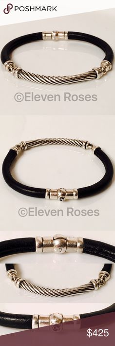 "David Yurman Black Leather Cable Bracelet David Yurman Black Leather Cable Bracelet - 925 Sterling Silver Long Cable Front Station - Magnetic Fold Over Locking Clasp - Measures Approx 5mm to 7mm Wide X 7.25"" Long David Yurman Jewelry Bracelets"