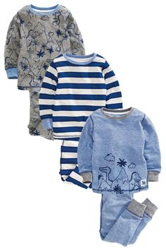 Buy Three Pack Dinosaur Blues Snuggle Pyjamas (9mths-8yrs) from the Next UK online shop