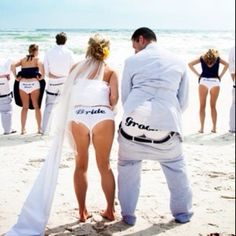 Funny beach wedding idea #photo