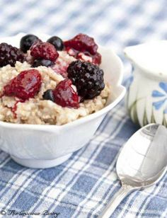 Clean Eating Triple Berry Oatmeal from www.TheGraciousPantry.com