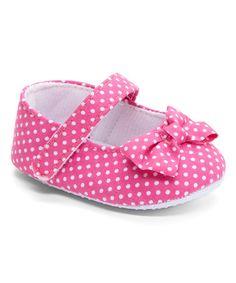 Look at this #zulilyfind! Pink & White Polka Dot Bow-Tie Crib Shoe #zulilyfinds
