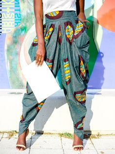 Rahyma Sleek African print harem pants. ~ African fashion, Ankara, kitenge, Kente, African prints, Braids, Asoebi, Gele, Nigerian wedding, Ghanaian fashion, African wedding ~DKK