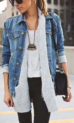 How to Layer for Spring 2017: Denim jacket outfit or jean jacket over a cardigan - cute spring outfit ideas- transitional spring outfits