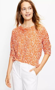 Everyone needs at least one statement sweater in their closet. This bold leopard print sweater will catch everyone's eye this season. #fallfashion #falloutfits #fallsweaters #cutesweaters #southernliving Orange Sweaters, Knitwear, Blouse, Long Sleeve, Sleeves, How To Wear, Loft, Attitude, Ballet