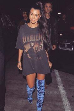 Kourtney Kardashian wearing  Aquazzura Velvet Over the Knee Boots