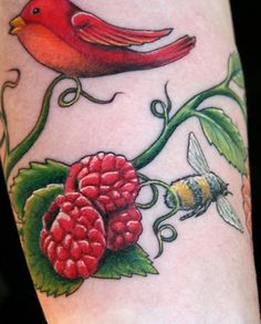 Cardinal & raspberries | Tattoos | Pinterest