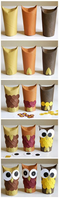Cute paper owls: paper rolls, acrylic color, paper, glue and tape