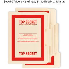 6 Pack TOP SECRET classified confidential file folders cia fbi nsa kgb... (38 BRL) ❤ liked on Polyvore featuring home, home decor and inspirational home decor