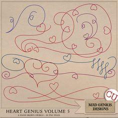 Heart Genius Hand Drawn Doodle Volume Five by Mad Genius Designs Commercial Use for Digital Scrapbooking, #CUDigitals