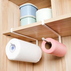 Kitchen Organizer Rack, Kitchen Storage, Shelf Organizer, Hanging Racks, Hanging Shelves, How To Roll Towels, Paper Towel Holder, Stainless Steel Kitchen, Kitchen Cupboards