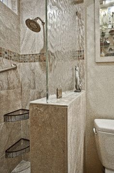 Modern Showers Glass Half Wall Heavy Glass Door With Inline