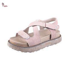 OCHENTA Femme Sandales Plateforme 4.5CM Epais Confortable Lanière Velcro Abricot 39 - Chaussures ochenta (*Partner-Link)