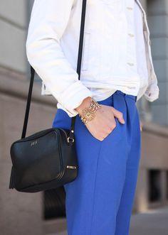 Spring basics - white denim jacket, cropped trousers and @giginewyork crossbody bag