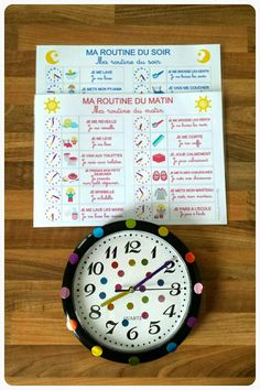 Morning and evening routine. Routine Printable, Autism Education, Alternative Education, Core French, Family Organizer, Teaching French, E 10, Kids Prints, Teaching Tools