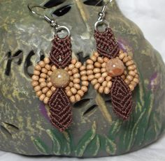 brown hand knotted micro macrame earrings by HempLady4u on Etsy, $6.00